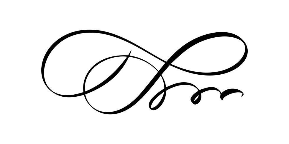 Vector floral kalligrafie-element bloeien. Hand getrokken scheidingslijn voor pagina decoratie en frame ontwerp illustratie swirl ornament. Decoratief silhouet voor huwelijkskaarten en uitnodigingen