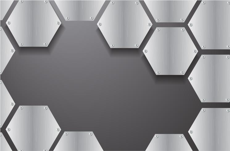 plaat metaal zeshoek en zwarte achtergrond vectorillustratie vector
