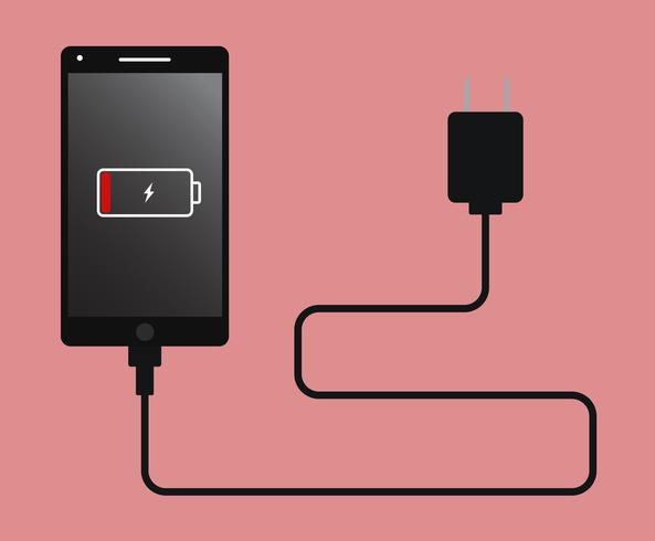 Vector illustratie slimme telefoonlading met lage batterij-indicator - Telefoon bijna lege batterij