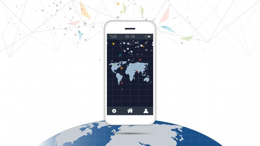 Slimme telefoonscherm met globale netwerkverbindingsachtergrond. vector