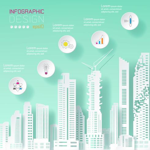 Zakelijke infographic bij het opbouwen van concept. vector