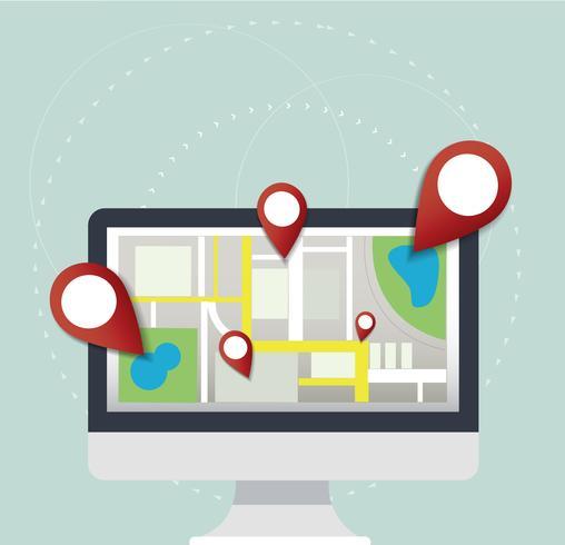 pin locatiepictogram en kaart op computer vector, het concept van reizen vector