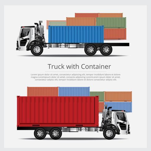 Ladingsvrachtwagensvervoer met Container geïsoleerde Vectorillustratie vector