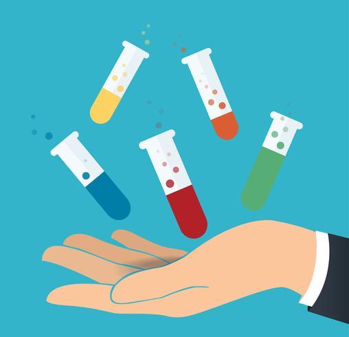 hand met kleurrijke laboratorium gevuld met een heldere vloeistof en een blauwe achtergrond vector