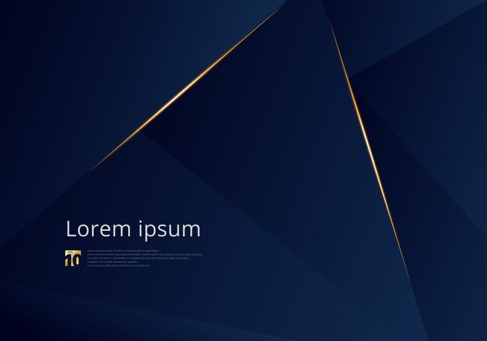 Abstracte de premieachtergrond van de malplaatje donkerblauwe luxe met het patroon van luxedriehoeken en gouden verlichtingslijnen. vector