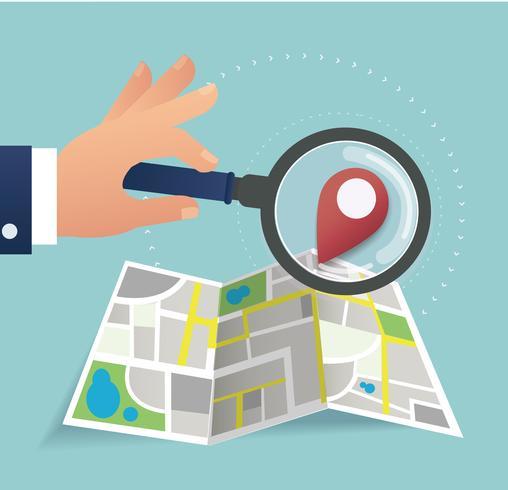 hand met het vergrootglas en pin locatiepictogram en kaart vector, het concept van reizen vector