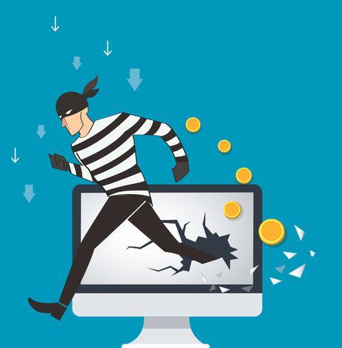 bedrijfsconceptenillustratie van de binaire gegevens van een hakker en netwerkbeveiligingstermijnen vector