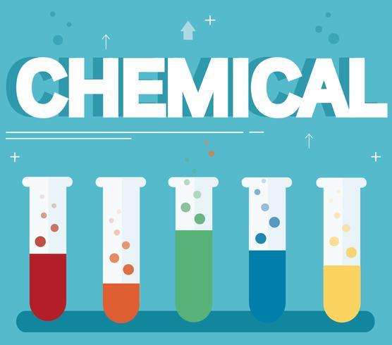 chemische tekst en kleurrijk laboratorium dat met een duidelijke vloeibare en blauwe achtergrond wordt gevuld vector