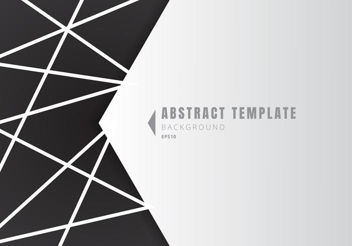 Sjabloon abstracte witte geometrische vorm veelhoeken met lijnen samenstelling op zwarte achtergrond vector