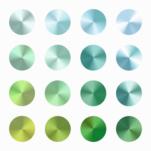 Groenachtig blauwe kegelvormige verloop Vector Set