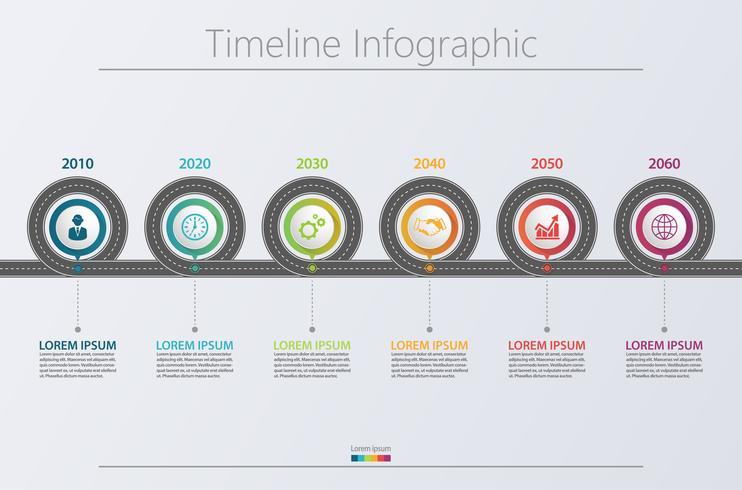 Presentatie Zakelijke routekaart infographic sjabloon. vector
