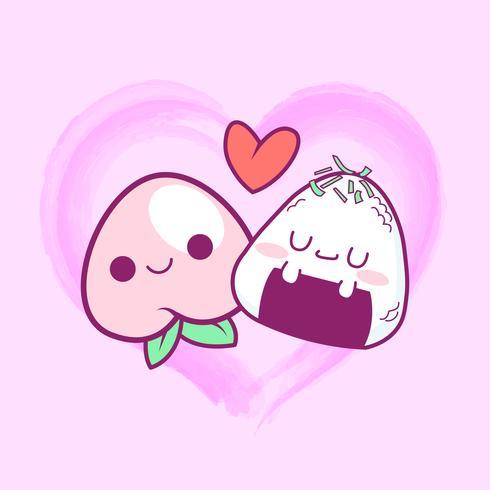schattige doodle perzik en onigiri liefde achtergrond vector