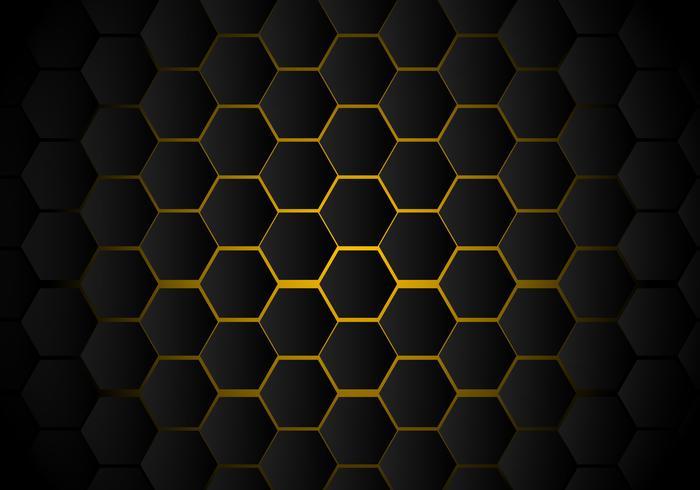 Abstract zwart hexagon patroon op gele neon achtergrondtechnologiestijl. Honingraat. vector