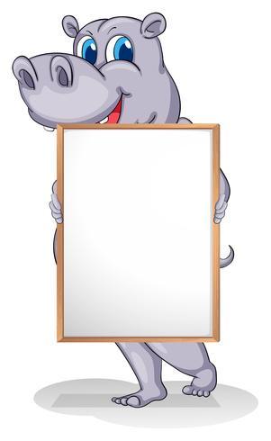 Een gigantisch dier met een leeg whiteboard vector