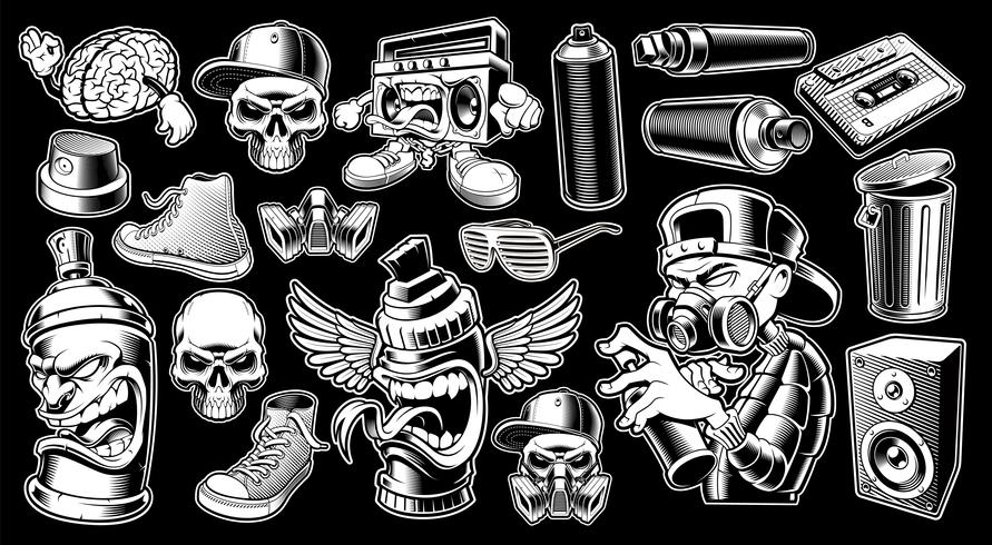 Set van zwart-witte graffiti stickers. vector