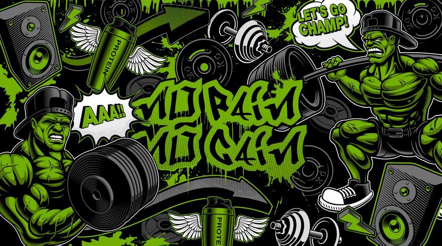Kleurrijke achtergrond voor de sportschool in graffiti-stijl vector