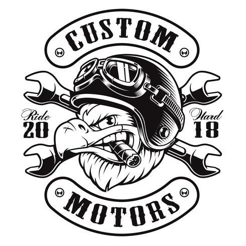 Eagle biker t-shirt ontwerp (monochrome versie) vector