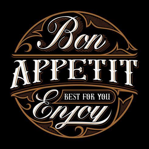 Bon appetit belettering ontwerp. vector