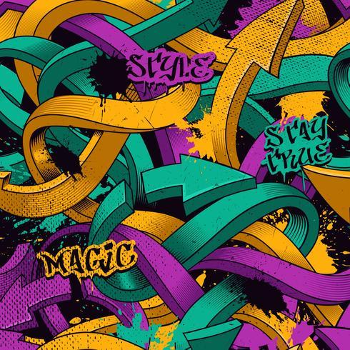 Naadloos patroon met graffitipijlen vector