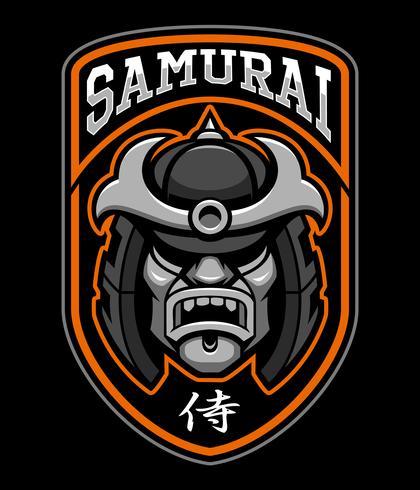 Kenteken van samurai-strijder vector