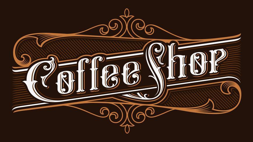 Koffie winkel vintage belettering illustratie. vector
