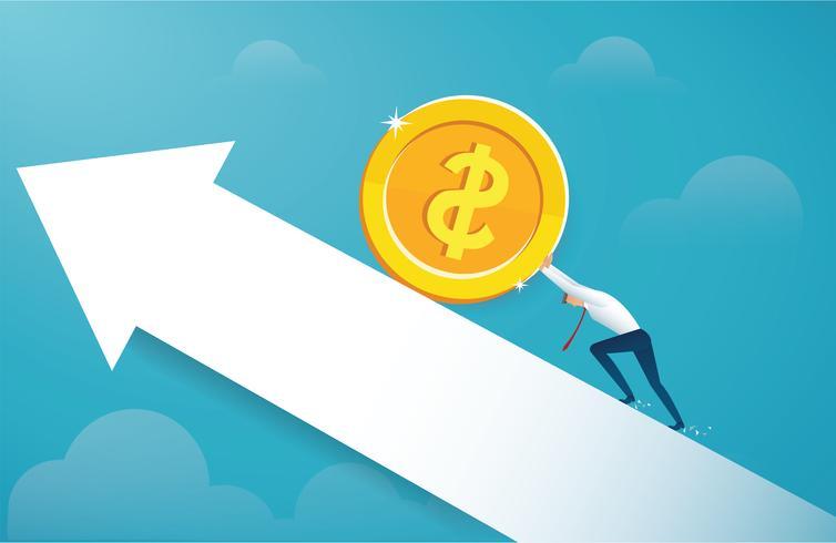 man duwt de grote gouden munt tot succes vector
