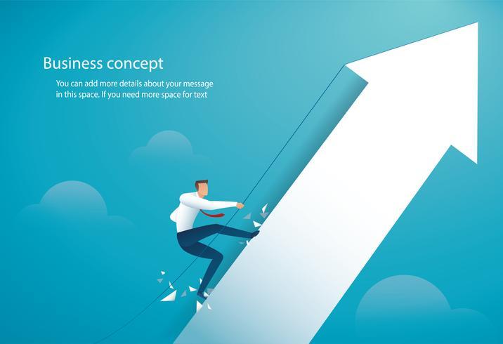 zakenman klimmen op de grote pijl vector
