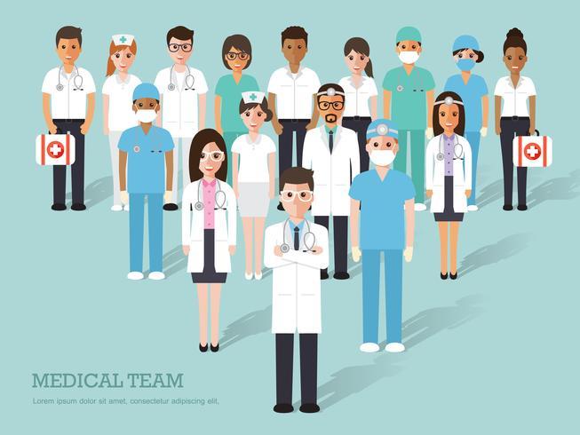 Medische en ziekenhuispersonages. vector