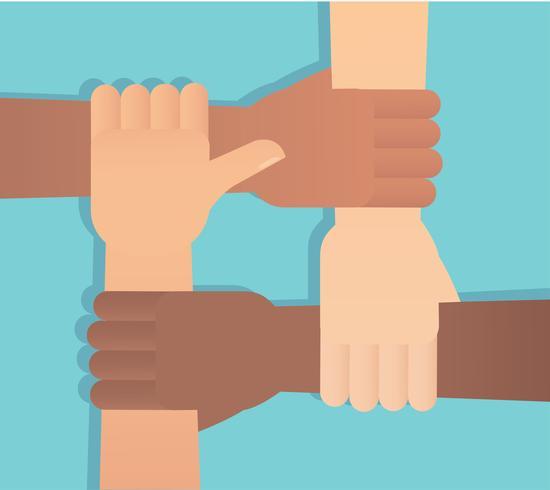 mensen die hun handen samenstellen. vrijwilliger platte vectorillustratie vector