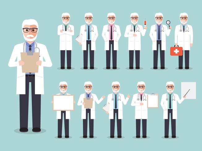 Set van senior arts, medisch personeel. vector