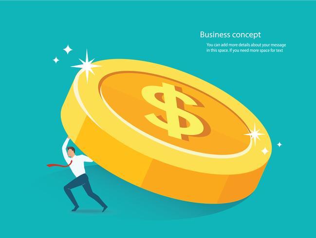 zakenman die groot gouden muntstuk houdt. bedrijfsconcept vectorillustratie vector