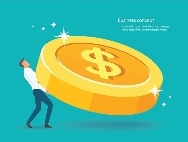 zakenman tillen de grote gouden munten omhoog. vector