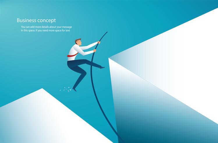 zakenman die met polsstokspringen springt om het doel te bereiken. vector