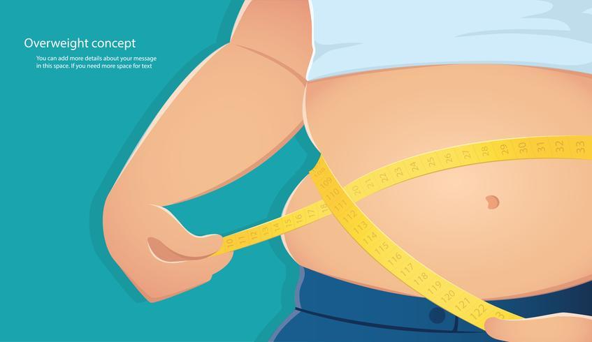 overgewicht, dikke persoon gebruik schaal om zijn taille te meten met een blauwe achtergrond vector