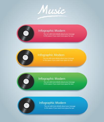 vinyl record met cover mockup infographic achtergrond vector