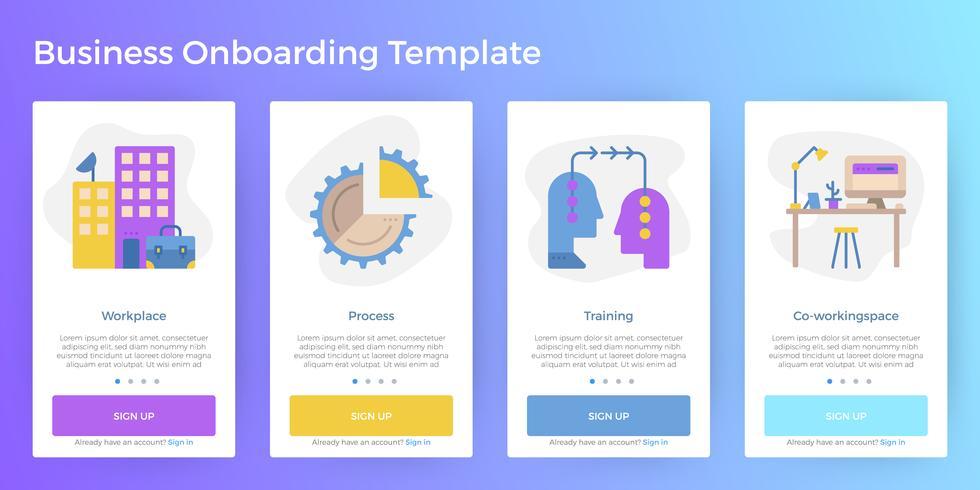 Zakelijke mobiele app Onboarding-sjabloon vector