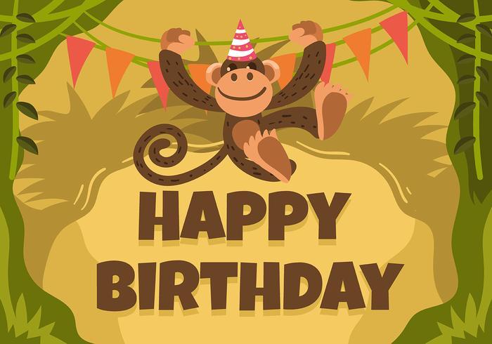 Gelukkige verjaardag dierlijke aap vector