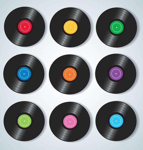 Het vinyl registreert muziek vectorillustratie als achtergrond vector