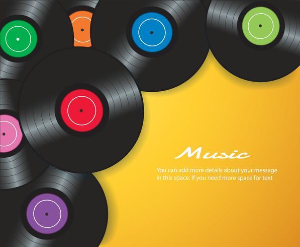 kleurrijke vinylplaten met gele vectorillustratie als achtergrond vector