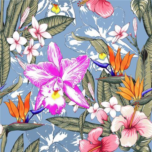 Naadloze bloemmotief roze pastel kleuren Hibiscus, Frangipaniand Orchideebloemen op geïsoleerde blauwe achtergrond. Vector illustratie aquarel hand getrokken doodle.