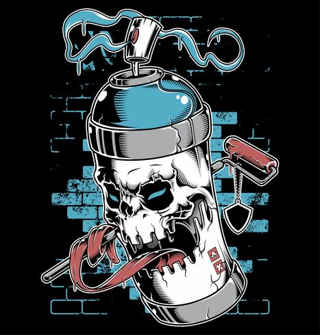 Spray verf schedel gezicht graffiti stripfiguur vector