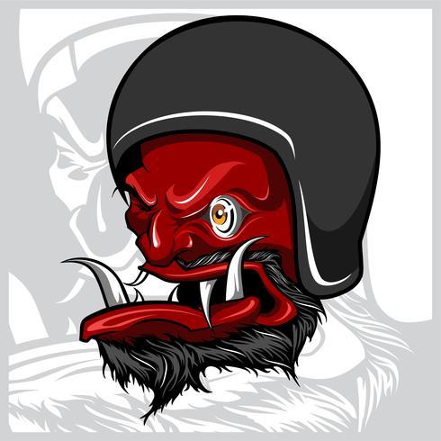 Vector van Handtekening van duivel die motorfietshelm dragen