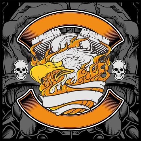 Van het het Embleem Grafisch Ontwerp van de motorfietsadelaar de Amerikaanse adelaarsillustratie - Vector