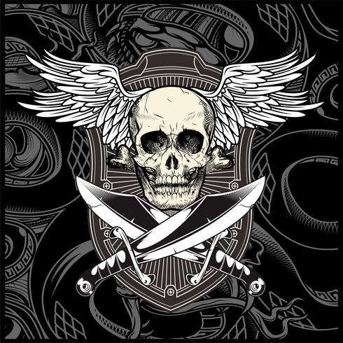 schedel vleugel met zwaard vector