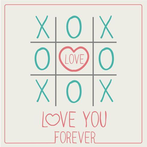 LIEFDE VOOR ALTIJD XOXO Happy Valentijnsdag kaart Lettertype vector