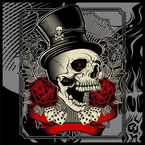 schedel met hoed en dobbelstenen roze decoratie - vector