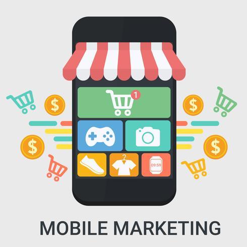 Mobiele marketing in een plat ontwerp vector