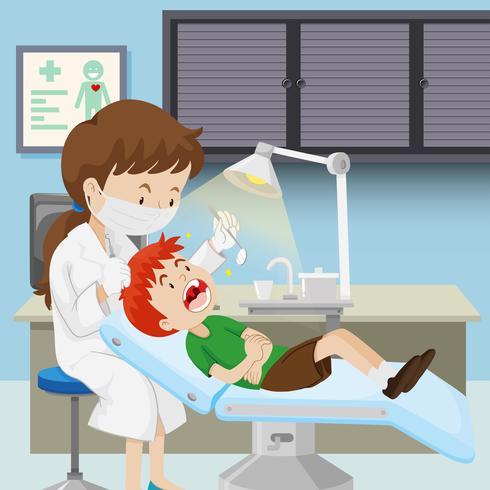 Een jongen bij tandheelkundige kliniek vector