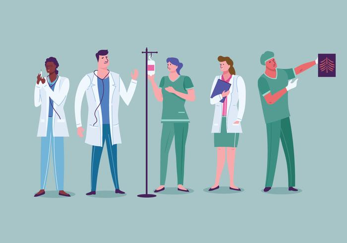 Set van medisch medisch personeel bij Works vector