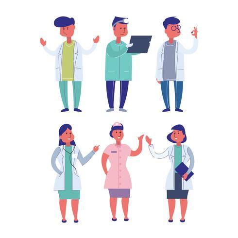 Set van ziekenhuis medisch personeel permanent samen vector